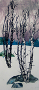 two birches birch tree monoprint