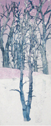 wintry mix trees in winter leni fried printmaking